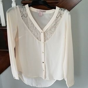 Forever21 XS cream, lace detail blouse